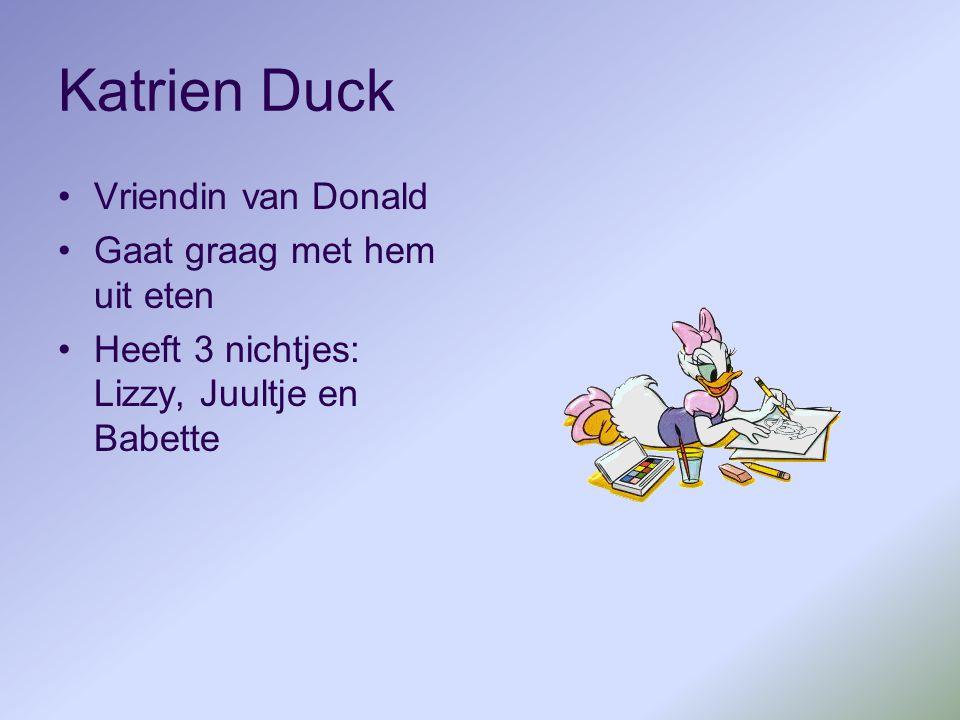 Katrien Duck Vriendin van Donald Gaat graag met hem uit eten Heeft 3 nichtjes: Lizzy, Juultje en Babette