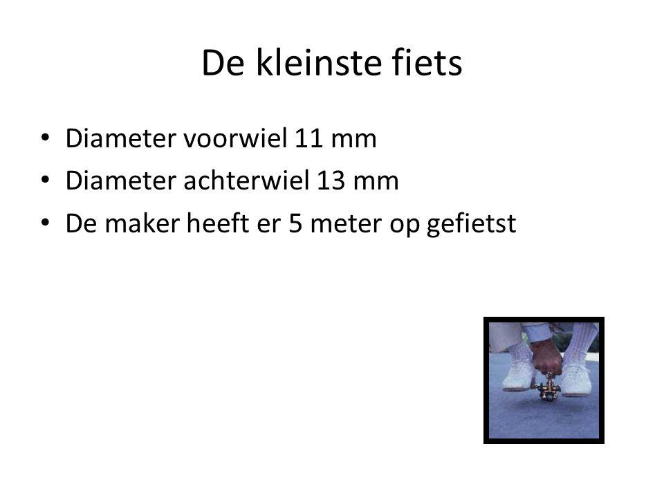 De kleinste fiets Diameter voorwiel 11 mm Diameter achterwiel 13 mm De maker heeft er 5 meter op gefietst