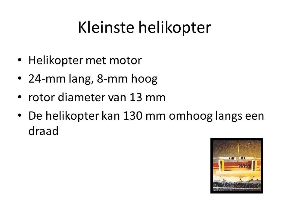 Kleinste helikopter Helikopter met motor 24-mm lang, 8-mm hoog rotor diameter van 13 mm De helikopter kan 130 mm omhoog langs een draad