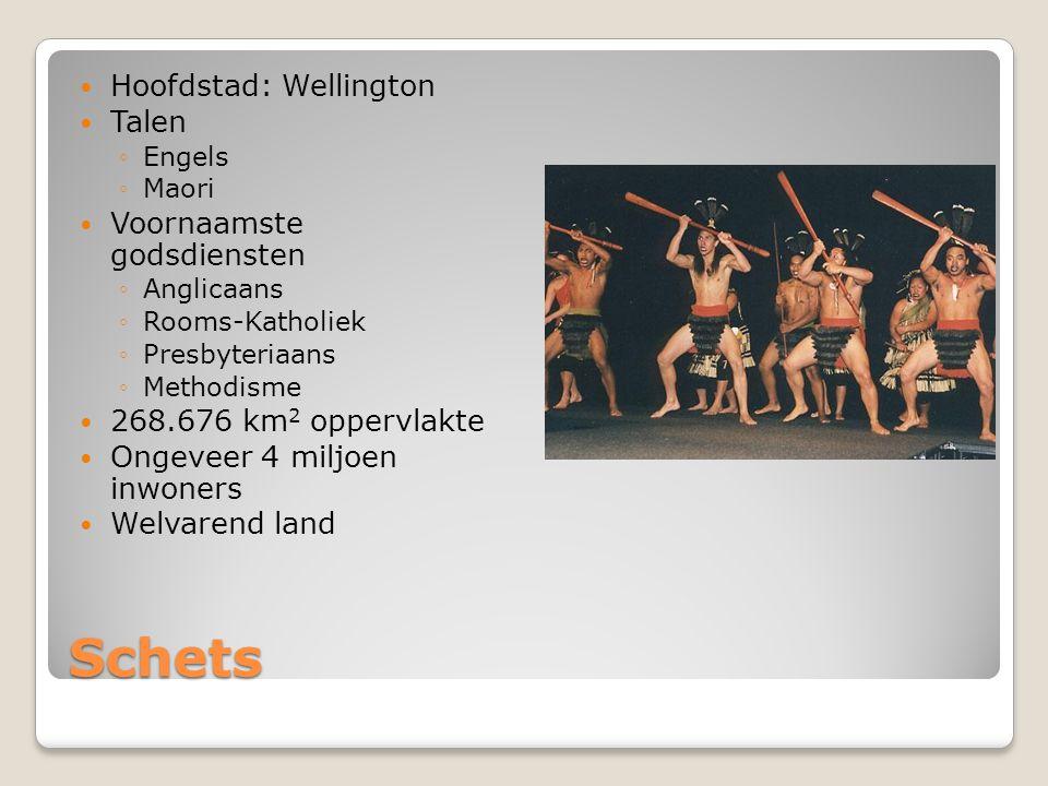 Schets Hoofdstad: Wellington Talen ◦Engels ◦Maori Voornaamste godsdiensten ◦Anglicaans ◦Rooms-Katholiek ◦Presbyteriaans ◦Methodisme 268.676 km 2 oppervlakte Ongeveer 4 miljoen inwoners Welvarend land