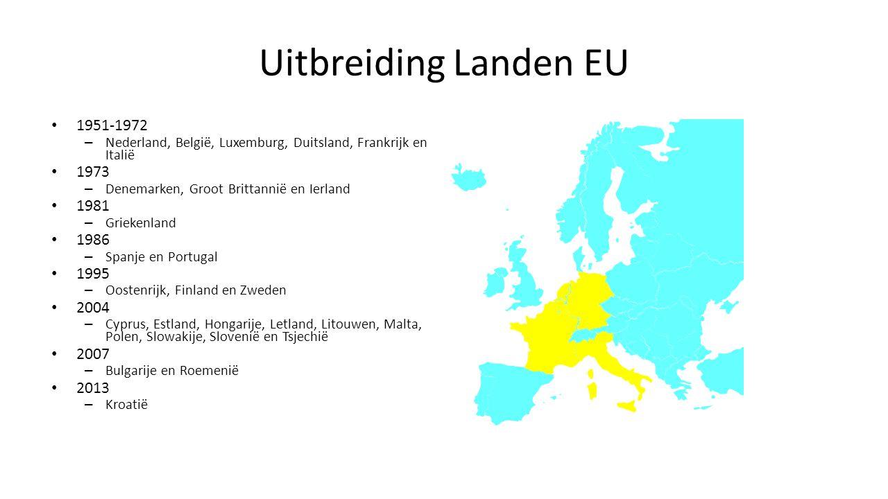 Uitbreiding Landen EU 1951-1972 – Nederland, België, Luxemburg, Duitsland, Frankrijk en Italië 1973 – Denemarken, Groot Brittannië en Ierland 1981 – G