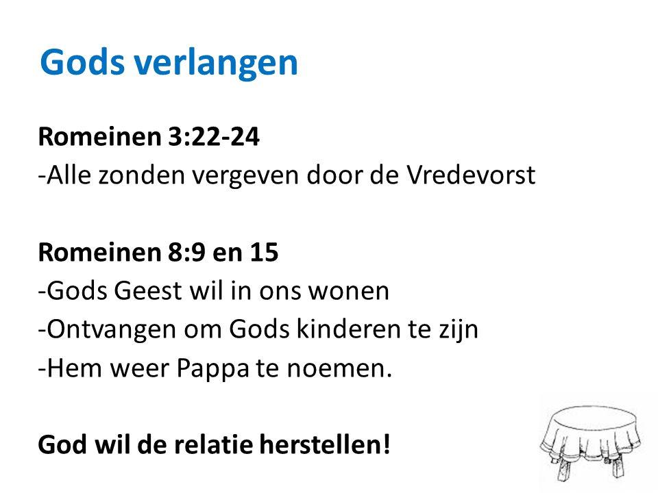 Gods verlangen Romeinen 3:22-24 -Alle zonden vergeven door de Vredevorst Romeinen 8:9 en 15 -Gods Geest wil in ons wonen -Ontvangen om Gods kinderen t