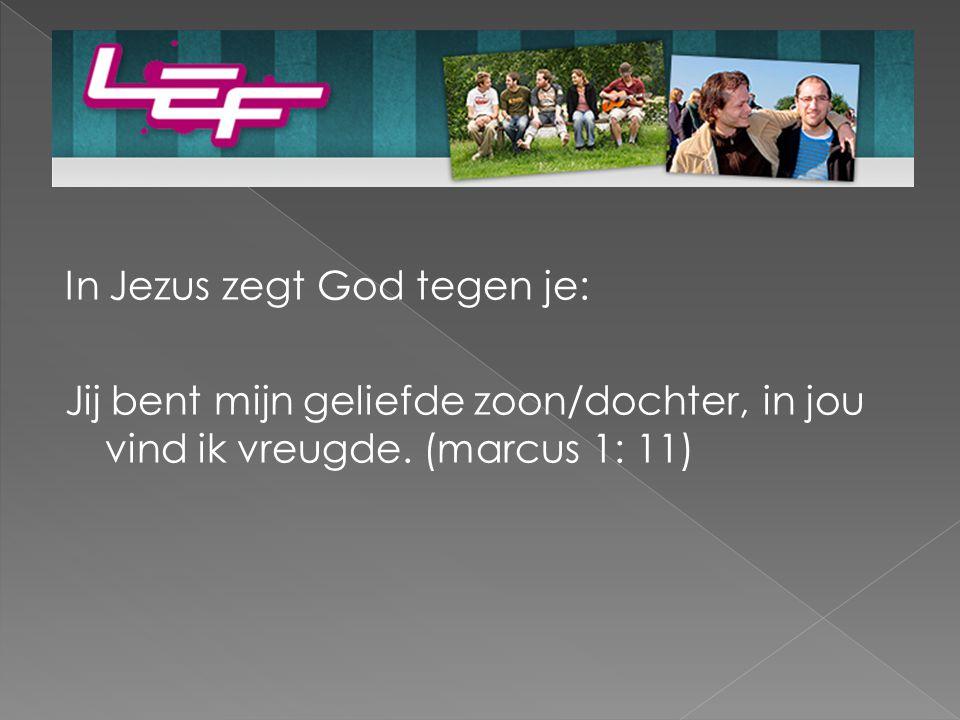 In Jezus zegt God tegen je: Jij bent mijn geliefde zoon/dochter, in jou vind ik vreugde.