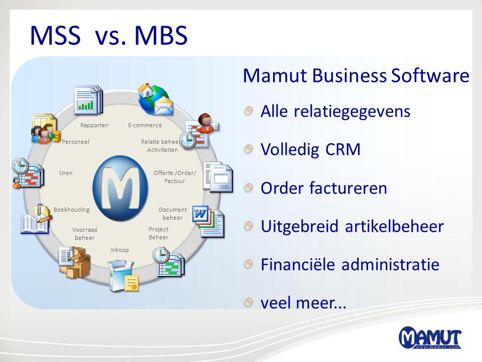 MSS vs. MBS Mamut Business Software Alle relatiegegevens Volledig CRM Order factureren Uitgebreid artikelbeheer Financiële administratie veel meer...