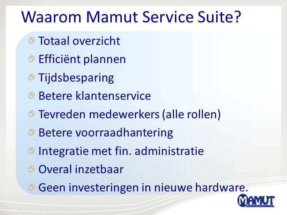 Waarom Mamut Service Suite? Totaal overzicht Efficiënt plannen Tijdsbesparing Betere klantenservice Tevreden medewerkers (alle rollen) Betere voorraad