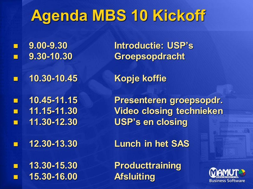 Agenda MBS 10 Kickoff 9.00-9.30Introductie: USP's 9.00-9.30Introductie: USP's 9.30-10.30 Groepsopdracht 9.30-10.30 Groepsopdracht 10.30-10.45Kopje koffie 10.30-10.45Kopje koffie 10.45-11.15Presenteren groepsopdr.
