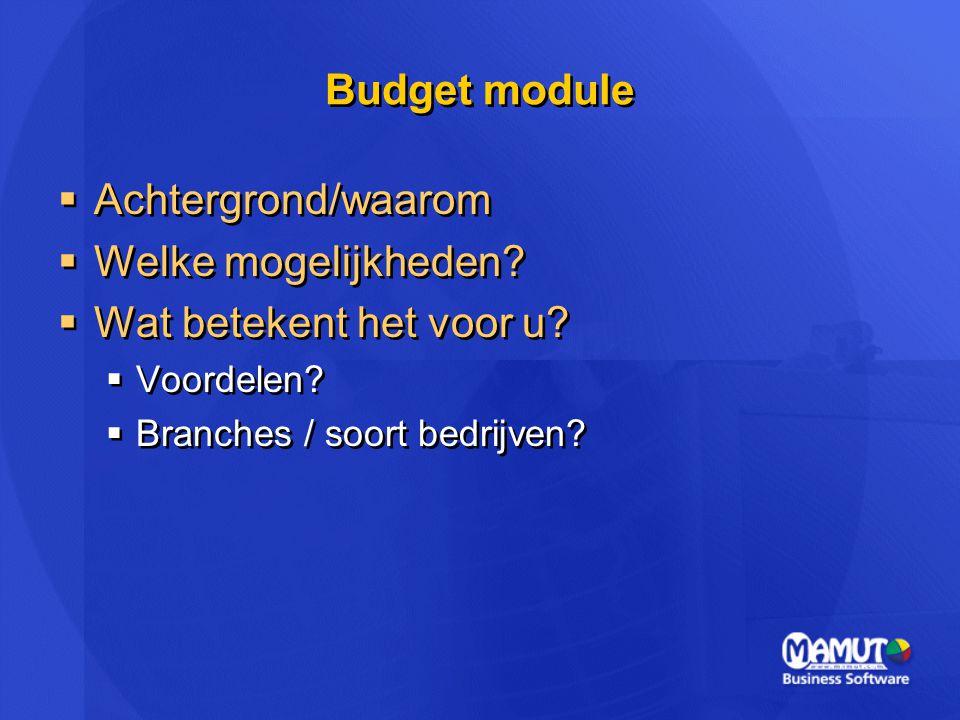 Budget module  Achtergrond/waarom  Welke mogelijkheden?  Wat betekent het voor u?  Voordelen?  Branches / soort bedrijven?  Achtergrond/waarom 