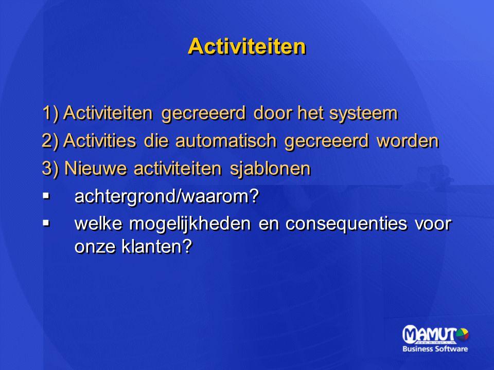 Activiteiten 1) Activiteiten gecreeerd door het systeem 2) Activities die automatisch gecreeerd worden 3) Nieuwe activiteiten sjablonen  achtergrond/
