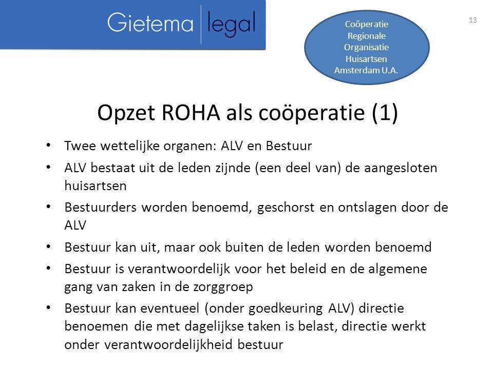 13 Opzet ROHA als coöperatie (1) Coöperatie Regionale Organisatie Huisartsen Amsterdam U.A.