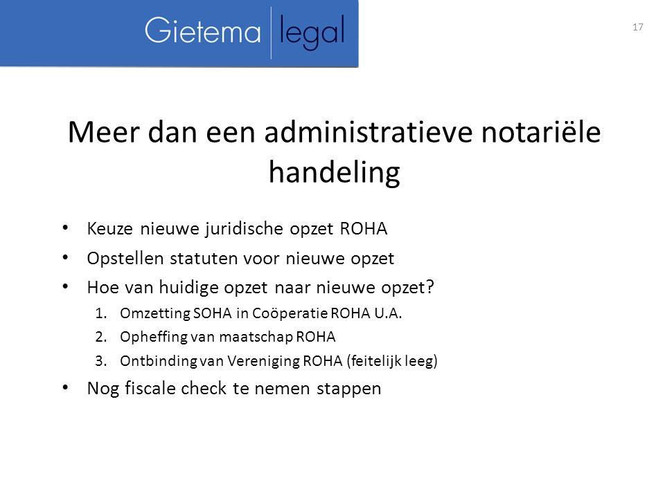 Keuze nieuwe juridische opzet ROHA Opstellen statuten voor nieuwe opzet Hoe van huidige opzet naar nieuwe opzet.