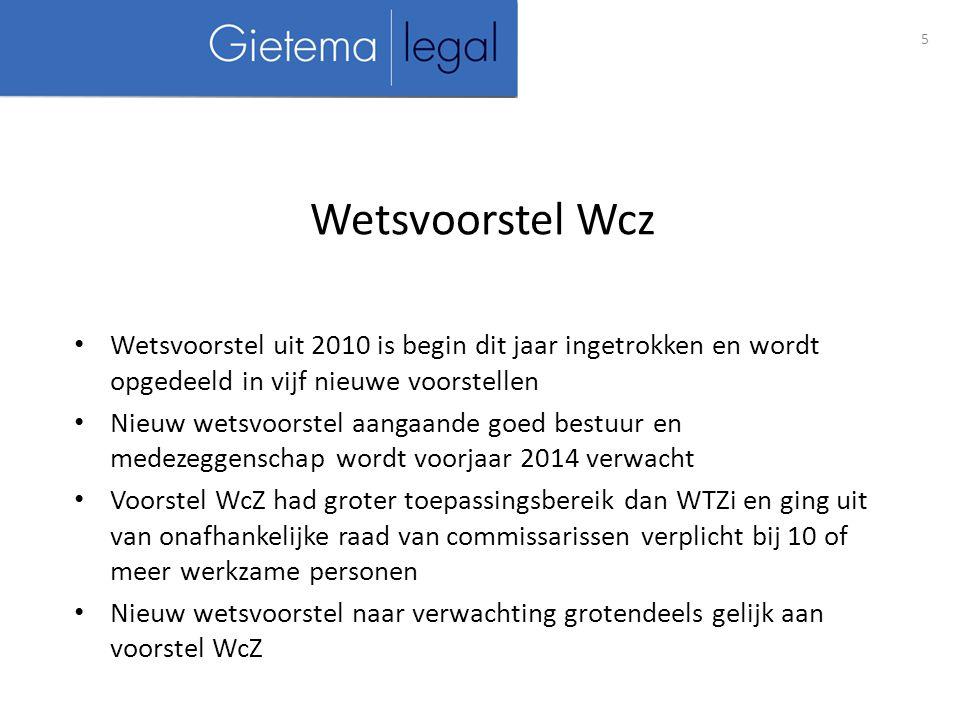 Wetsvoorstel uit 2010 is begin dit jaar ingetrokken en wordt opgedeeld in vijf nieuwe voorstellen Nieuw wetsvoorstel aangaande goed bestuur en medezeggenschap wordt voorjaar 2014 verwacht Voorstel WcZ had groter toepassingsbereik dan WTZi en ging uit van onafhankelijke raad van commissarissen verplicht bij 10 of meer werkzame personen Nieuw wetsvoorstel naar verwachting grotendeels gelijk aan voorstel WcZ 5 Wetsvoorstel Wcz