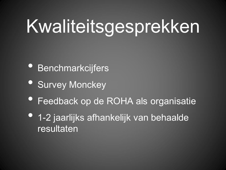 Kwaliteitsgesprekken Benchmarkcijfers Survey Monckey Feedback op de ROHA als organisatie 1-2 jaarlijks afhankelijk van behaalde resultaten