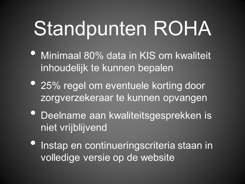 Standpunten ROHA Minimaal 80% data in KIS om kwaliteit inhoudelijk te kunnen bepalen 25% regel om eventuele korting door zorgverzekeraar te kunnen opvangen Deelname aan kwaliteitsgesprekken is niet vrijblijvend Instap en continueringscriteria staan in volledige versie op de website