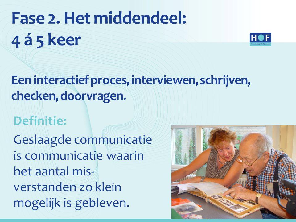Fase 2. Het middendeel: 4 á 5 keer Een interactief proces, interviewen, schrijven, checken, doorvragen. Definitie: Geslaagde communicatie is communica