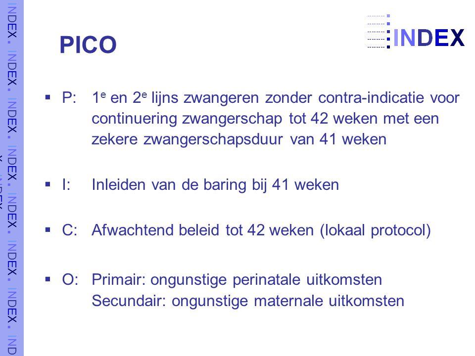 PICO  P: 1 e en 2 e lijns zwangeren zonder contra-indicatie voor continuering zwangerschap tot 42 weken met een zekere zwangerschapsduur van 41 weken