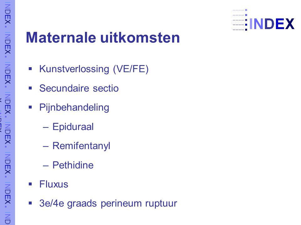 Maternale uitkomsten  Kunstverlossing (VE/FE)  Secundaire sectio  Pijnbehandeling –Epiduraal –Remifentanyl –Pethidine  Fluxus  3e/4e graads perineum ruptuur