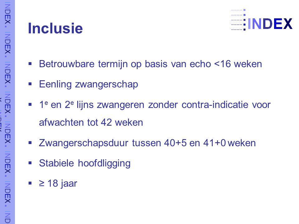 Inclusie  Betrouwbare termijn op basis van echo <16 weken  Eenling zwangerschap  1 e en 2 e lijns zwangeren zonder contra-indicatie voor afwachten