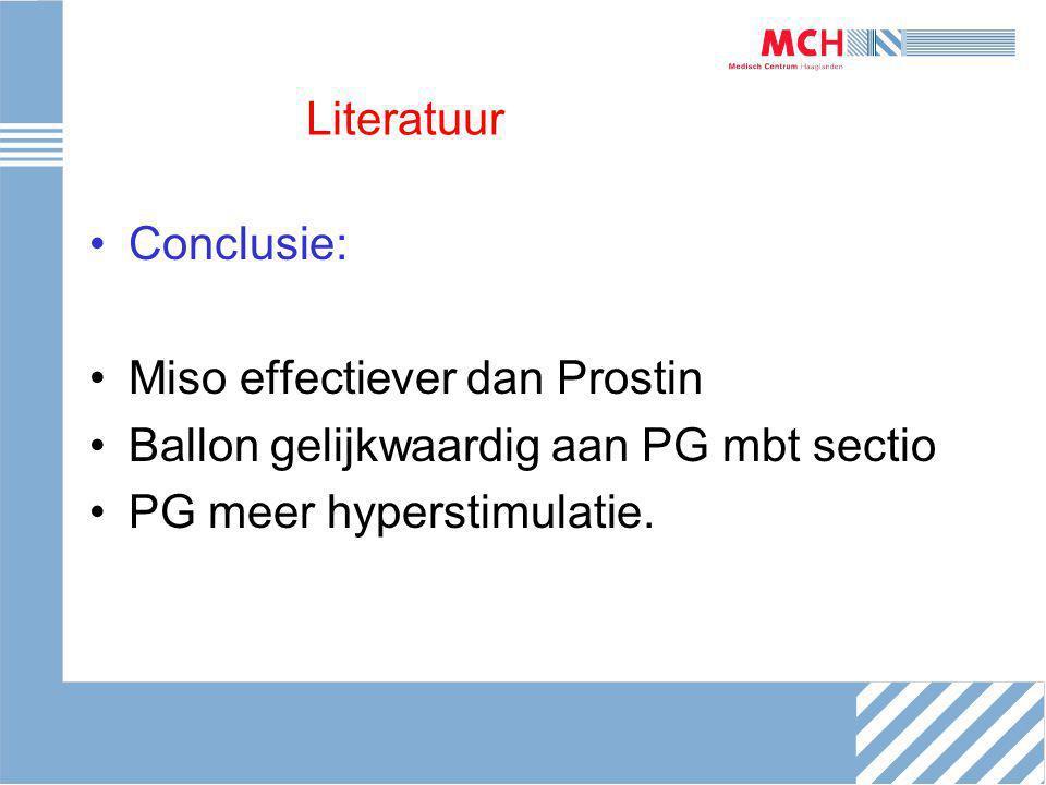 Literatuur Conclusie: Miso effectiever dan Prostin Ballon gelijkwaardig aan PG mbt sectio PG meer hyperstimulatie.