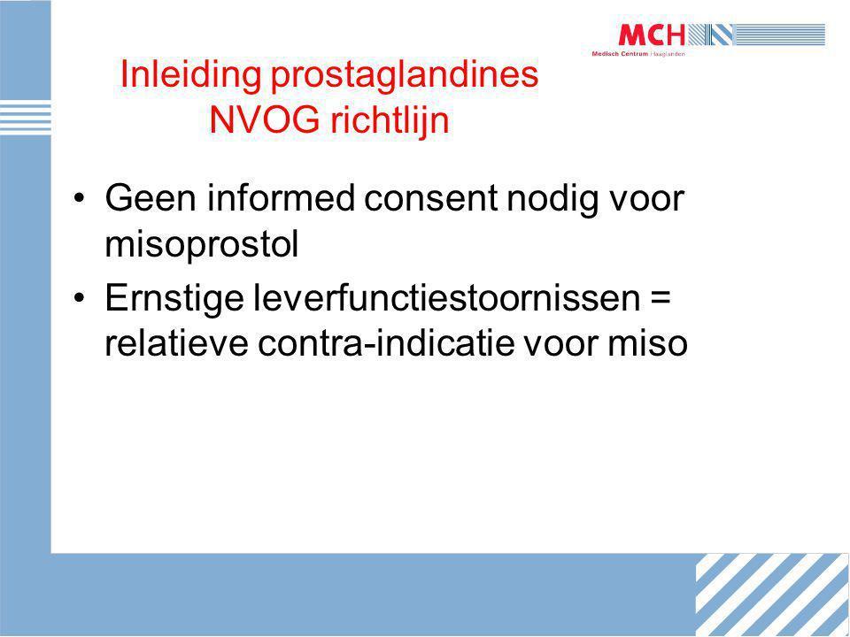 Inleiding prostaglandines NVOG richtlijn Geen informed consent nodig voor misoprostol Ernstige leverfunctiestoornissen = relatieve contra-indicatie vo
