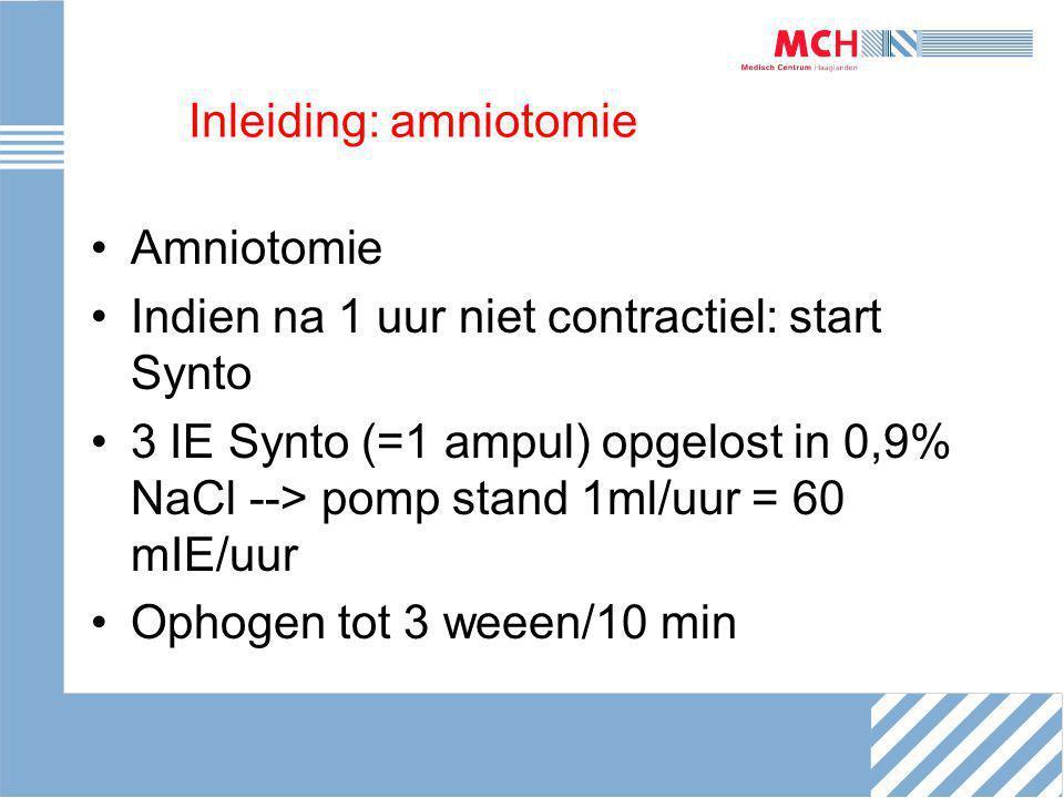 Inleiding: amniotomie Amniotomie Indien na 1 uur niet contractiel: start Synto 3 IE Synto (=1 ampul) opgelost in 0,9% NaCl --> pomp stand 1ml/uur = 60 mIE/uur Ophogen tot 3 weeen/10 min