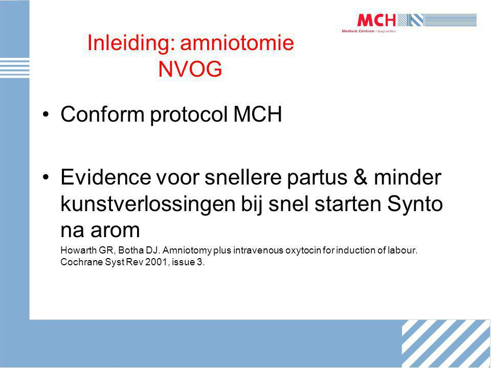 Inleiding: amniotomie NVOG Conform protocol MCH Evidence voor snellere partus & minder kunstverlossingen bij snel starten Synto na arom Howarth GR, Bo