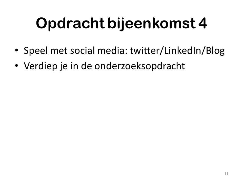 Opdracht bijeenkomst 4 Speel met social media: twitter/LinkedIn/Blog Verdiep je in de onderzoeksopdracht 11