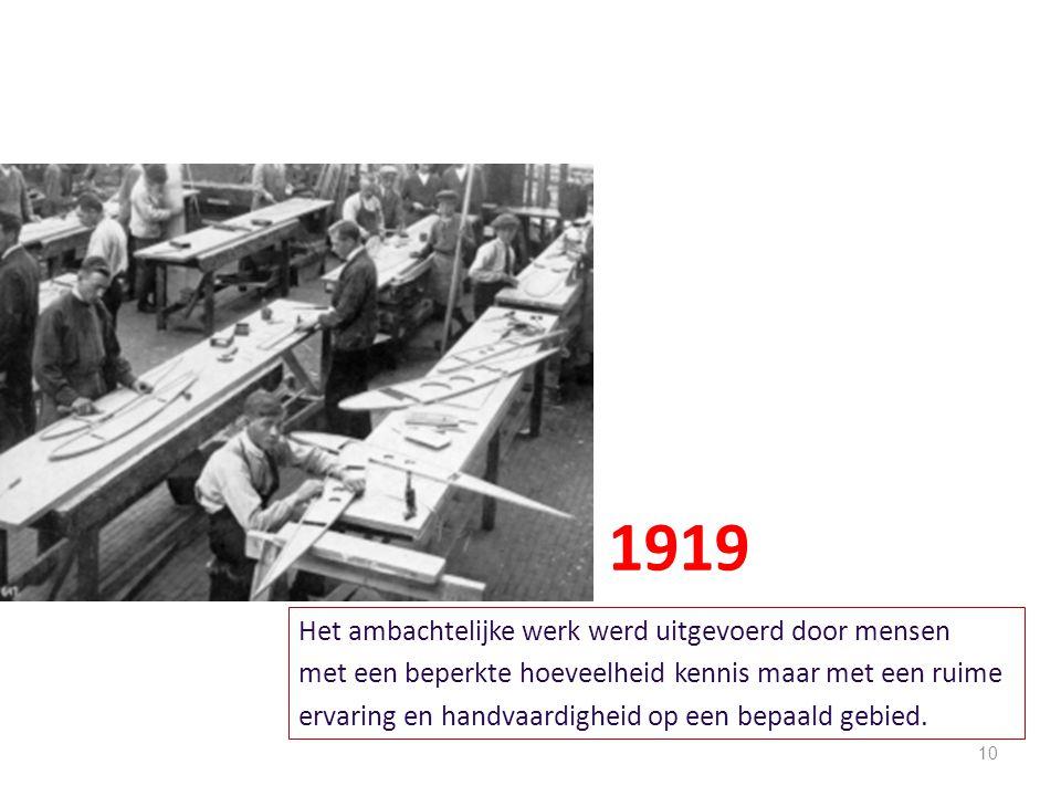 10 Het ambachtelijke werk werd uitgevoerd door mensen met een beperkte hoeveelheid kennis maar met een ruime ervaring en handvaardigheid op een bepaal