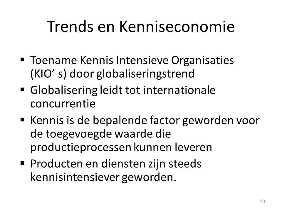 Trends en Kenniseconomie  Toename Kennis Intensieve Organisaties (KIO' s) door globaliseringstrend  Globalisering leidt tot internationale concurren