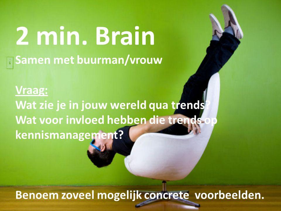 16 2 min. Brain Samen met buurman/vrouw Vraag: Wat zie je in jouw wereld qua trends? Wat voor invloed hebben die trends op kennismanagement? Benoem zo