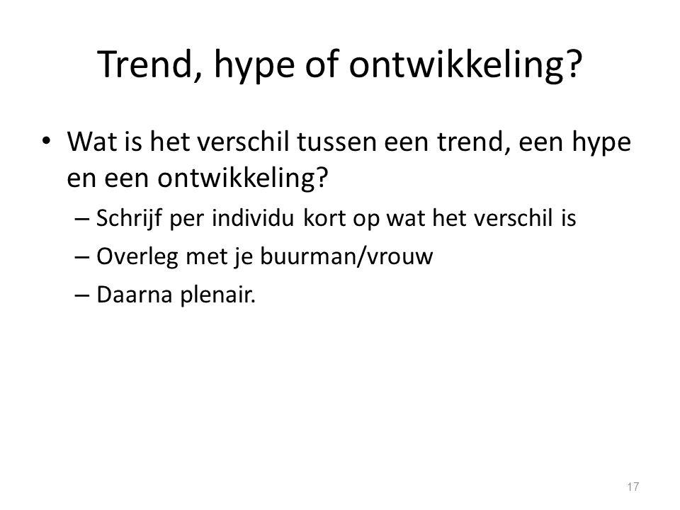 Trend, hype of ontwikkeling? Wat is het verschil tussen een trend, een hype en een ontwikkeling? – Schrijf per individu kort op wat het verschil is –