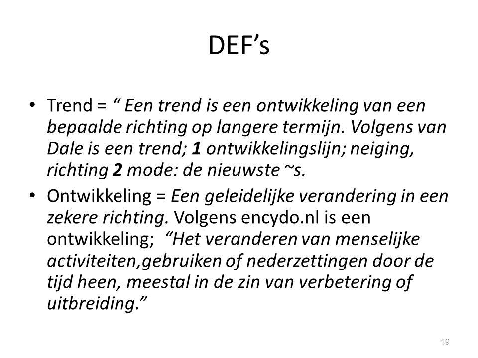 """DEF's Trend = """" Een trend is een ontwikkeling van een bepaalde richting op langere termijn. Volgens van Dale is een trend; 1 ontwikkelingslijn; neigin"""