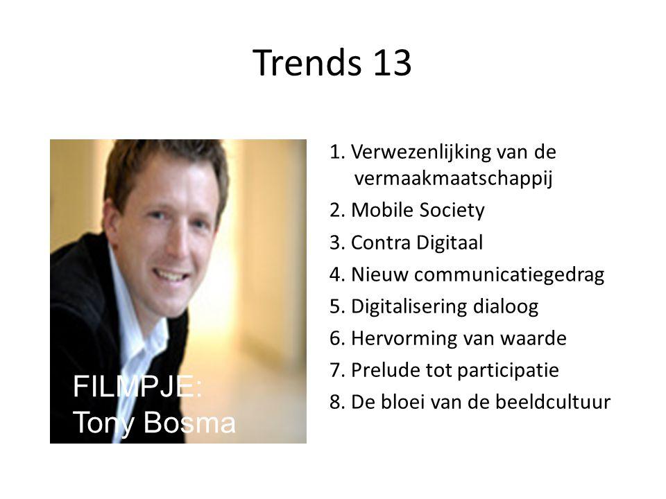 Trends 13 1. Verwezenlijking van de vermaakmaatschappij 2. Mobile Society 3. Contra Digitaal 4. Nieuw communicatiegedrag 5. Digitalisering dialoog 6.