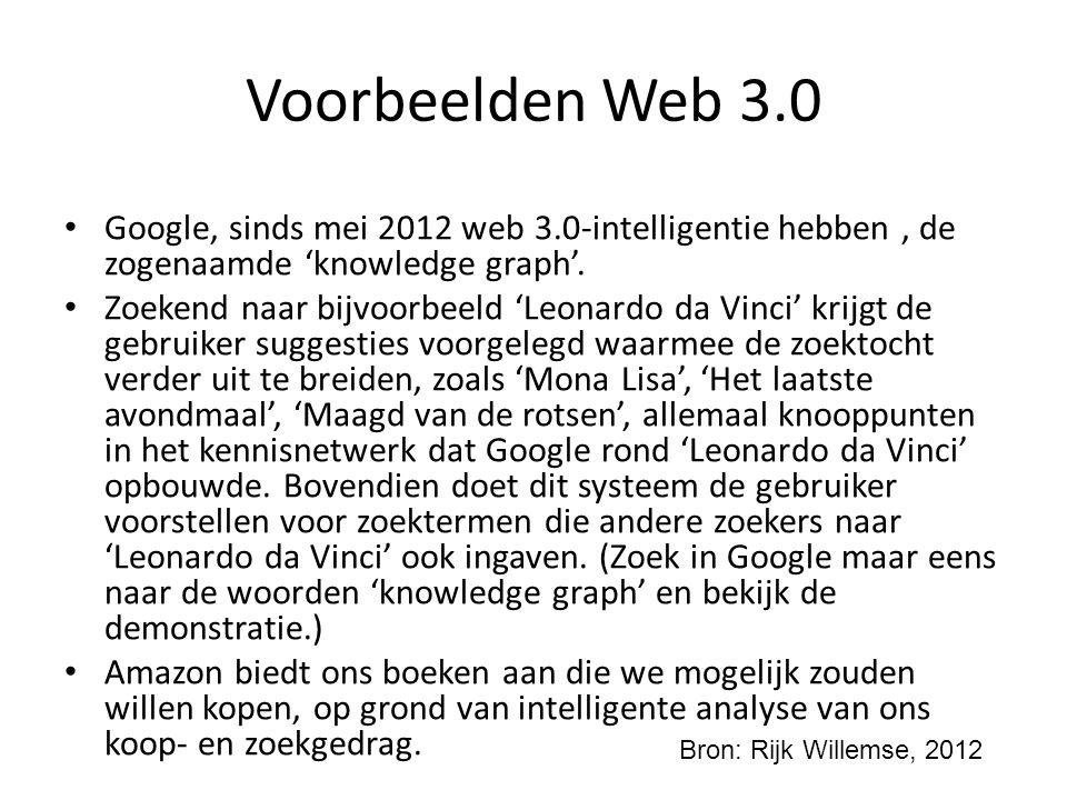 Voorbeelden Web 3.0 Google, sinds mei 2012 web 3.0-intelligentie hebben, de zogenaamde 'knowledge graph'. Zoekend naar bijvoorbeeld 'Leonardo da Vinci