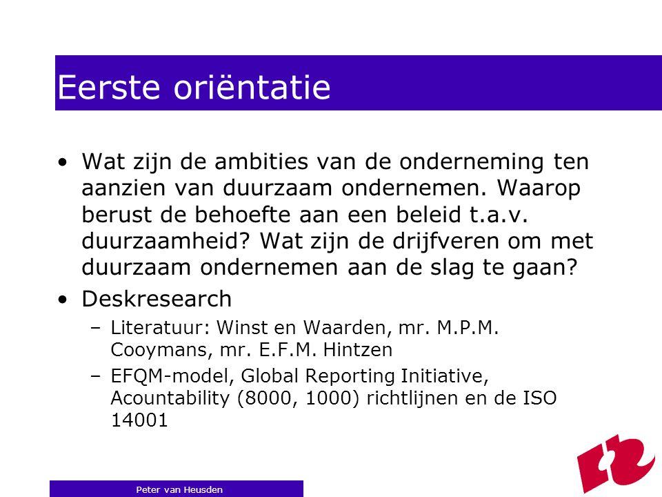 Peter van Heusden Eerste oriëntatie Wat zijn de ambities van de onderneming ten aanzien van duurzaam ondernemen.