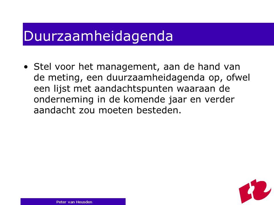 Peter van Heusden Duurzaamheidagenda Stel voor het management, aan de hand van de meting, een duurzaamheidagenda op, ofwel een lijst met aandachtspunten waaraan de onderneming in de komende jaar en verder aandacht zou moeten besteden.