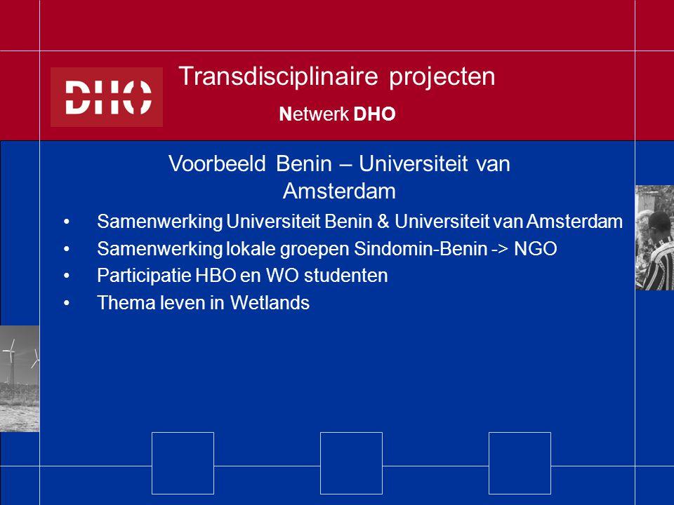 Samenwerking Universiteit Benin & Universiteit van Amsterdam Samenwerking lokale groepen Sindomin-Benin -> NGO Participatie HBO en WO studenten Thema leven in Wetlands Voorbeeld Benin – Universiteit van Amsterdam Transdisciplinaire projecten Netwerk DHO