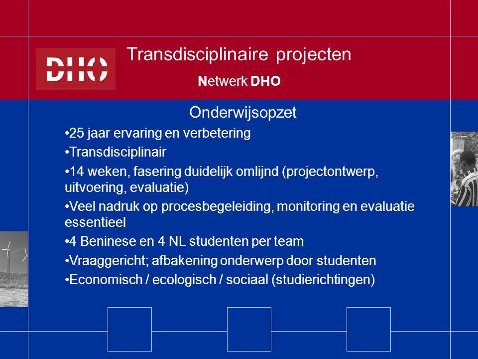 Balans -Kleinschalig -Arbeidsintensief (mn bij start) -Relatief kostbaar + Unieke leerervaring + Diepte-investering + Spinn-off op projectniveau Transdisciplinaire projecten Netwerk DHO