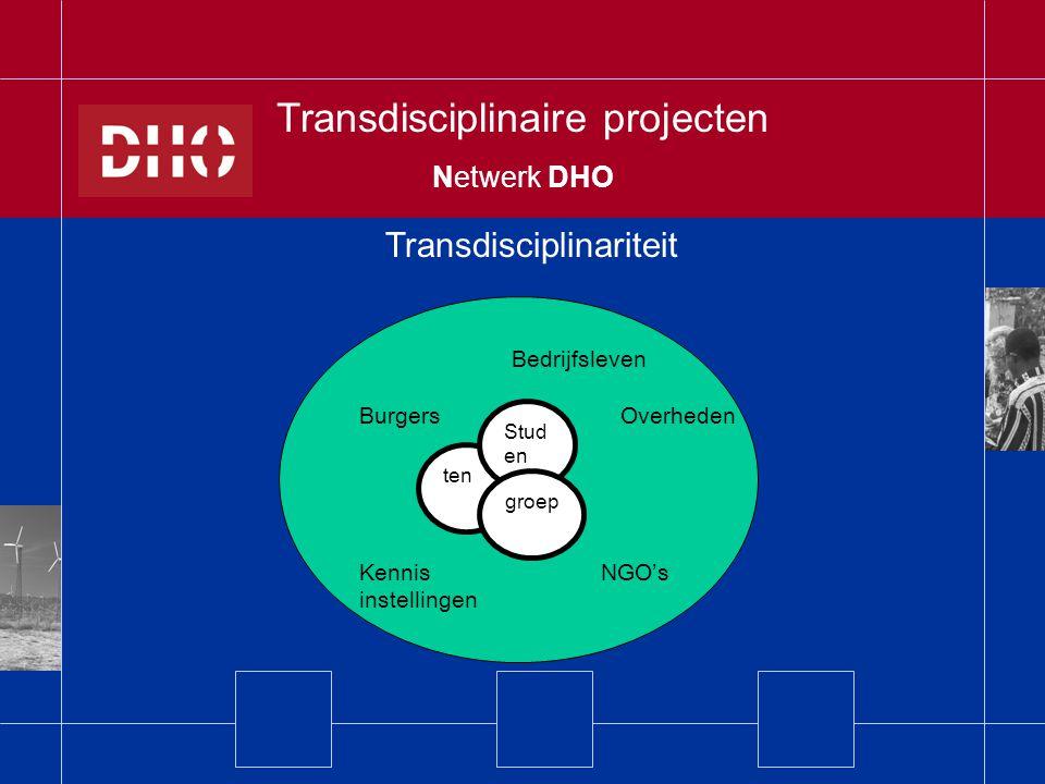 Transdisciplinariteit Transdisciplinaire projecten Netwerk DHO Bedrijfsleven Burgers Overheden Kennis NGO's instellingen ten Stud en groep