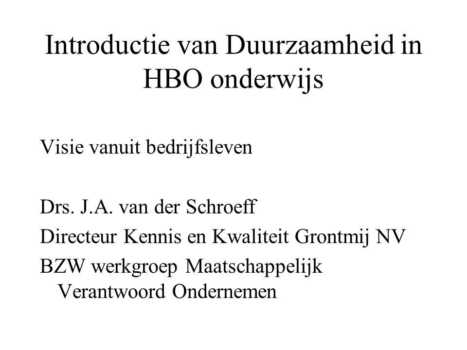 Introductie van Duurzaamheid in HBO onderwijs Visie vanuit bedrijfsleven Drs. J.A. van der Schroeff Directeur Kennis en Kwaliteit Grontmij NV BZW werk