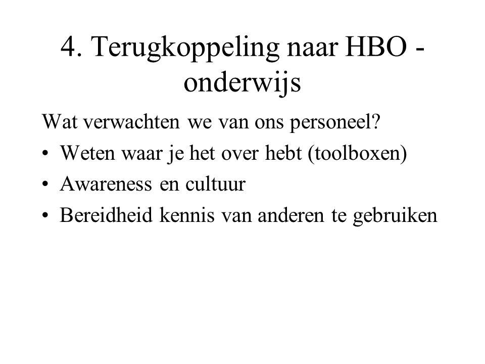 4. Terugkoppeling naar HBO - onderwijs Wat verwachten we van ons personeel? Weten waar je het over hebt (toolboxen) Awareness en cultuur Bereidheid ke