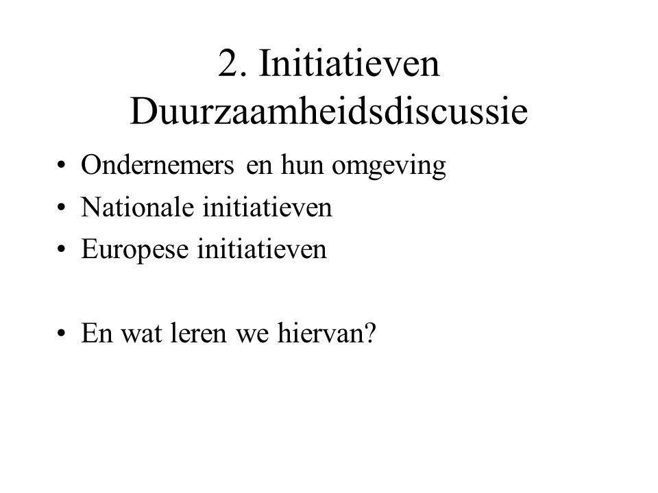 2. Initiatieven Duurzaamheidsdiscussie Ondernemers en hun omgeving Nationale initiatieven Europese initiatieven En wat leren we hiervan?