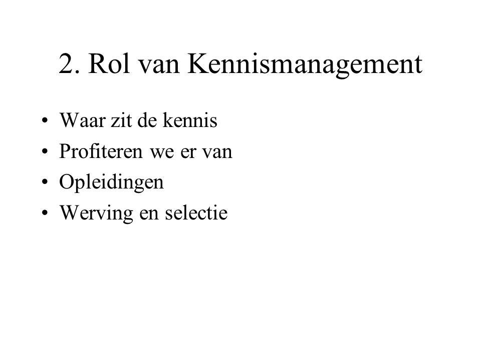 2. Rol van Kennismanagement Waar zit de kennis Profiteren we er van Opleidingen Werving en selectie