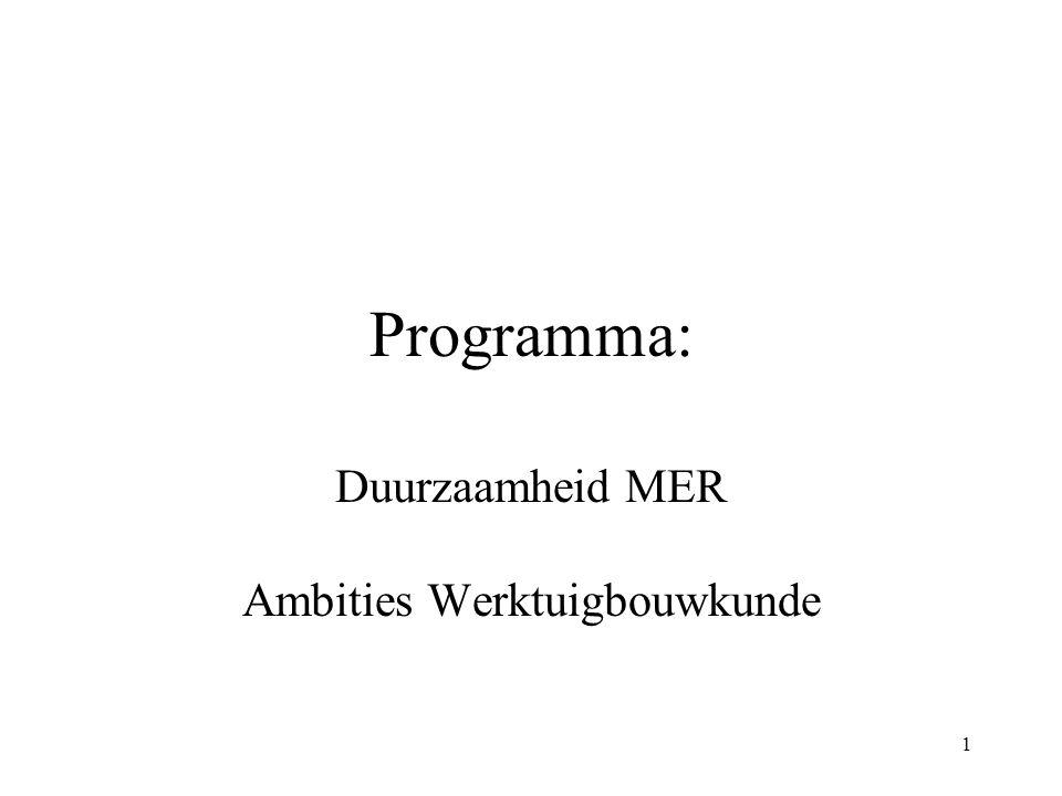 1 Programma: Duurzaamheid MER Ambities Werktuigbouwkunde