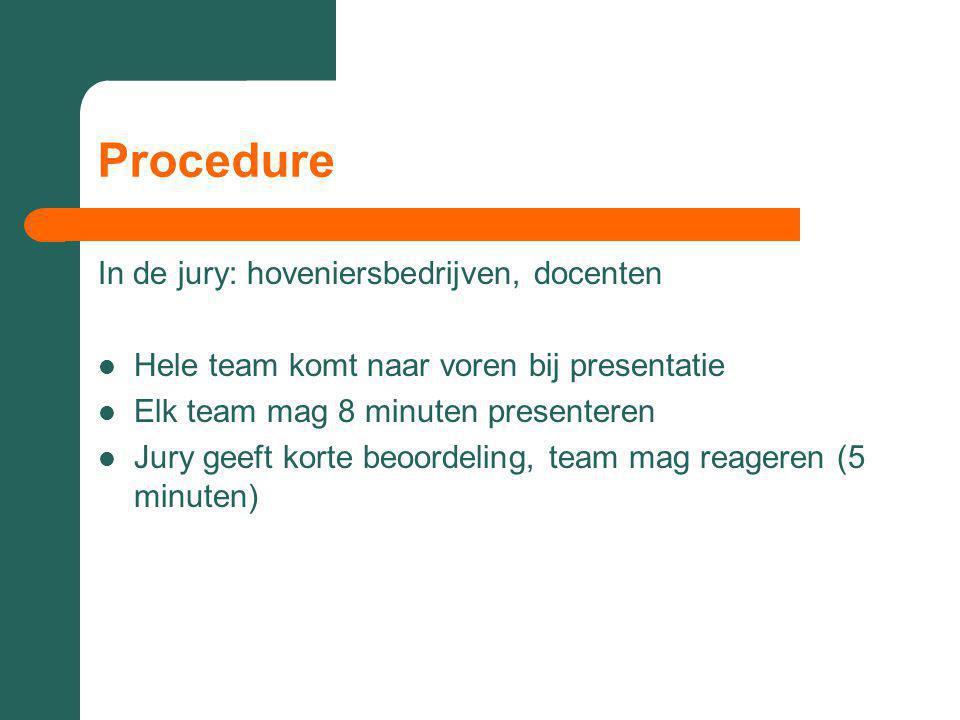 Procedure In de jury: hoveniersbedrijven, docenten Hele team komt naar voren bij presentatie Elk team mag 8 minuten presenteren Jury geeft korte beoordeling, team mag reageren (5 minuten)