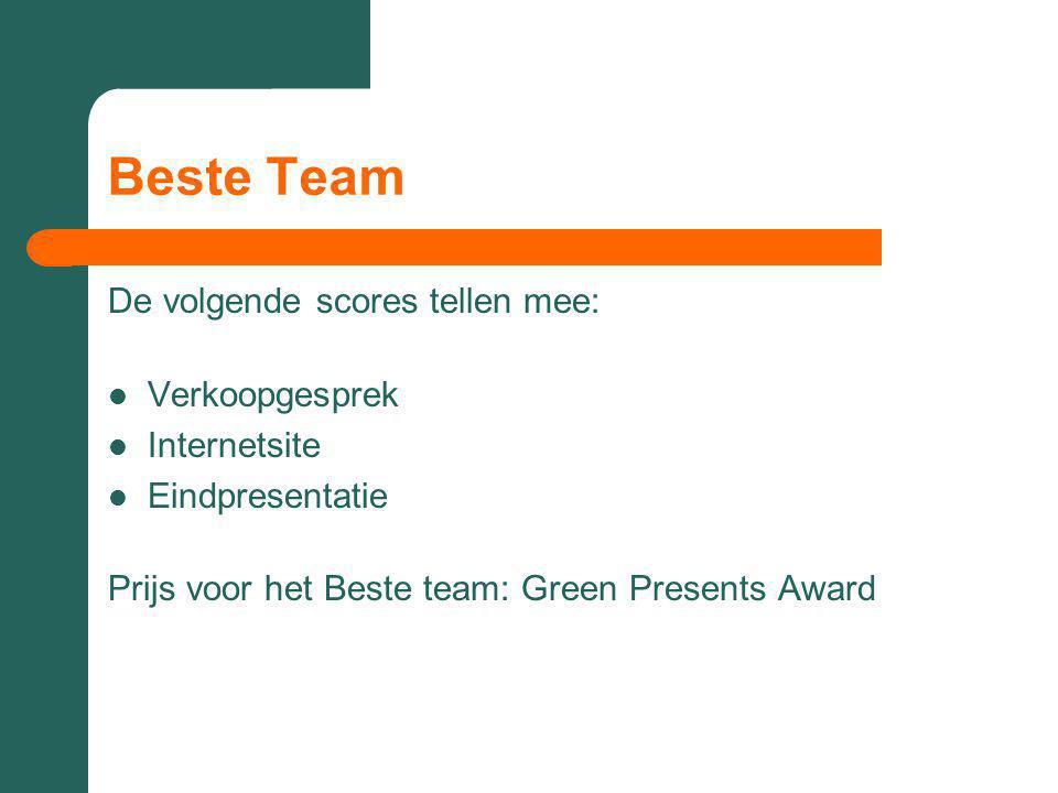 Beste Team De volgende scores tellen mee: Verkoopgesprek Internetsite Eindpresentatie Prijs voor het Beste team: Green Presents Award