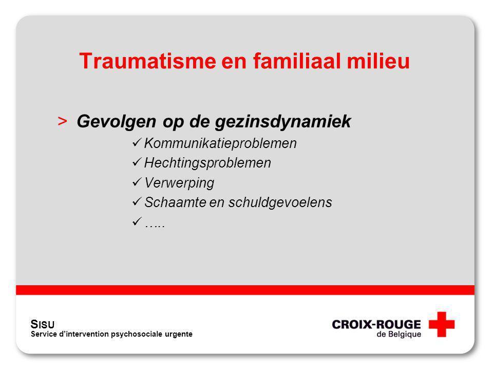 S ISU Service d'intervention psychosociale urgente Traumatisme en familiaal milieu >Gevolgen op de gezinsdynamiek Kommunikatieproblemen Hechtingsprobl