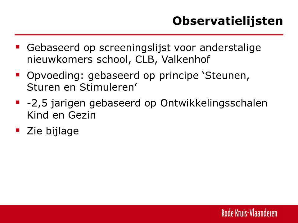  Gebaseerd op screeningslijst voor anderstalige nieuwkomers school, CLB, Valkenhof  Opvoeding: gebaseerd op principe 'Steunen, Sturen en Stimuleren'