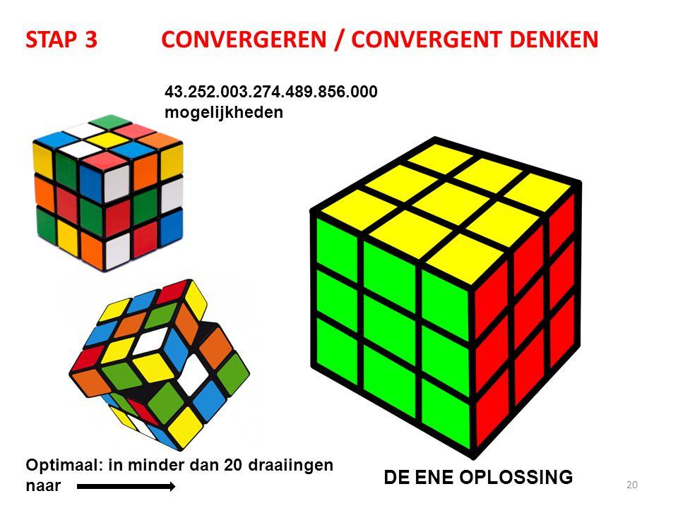 20 STAP 3CONVERGEREN / CONVERGENT DENKEN 43.252.003.274.489.856.000 mogelijkheden Optimaal: in minder dan 20 draaiingen naar DE ENE OPLOSSING