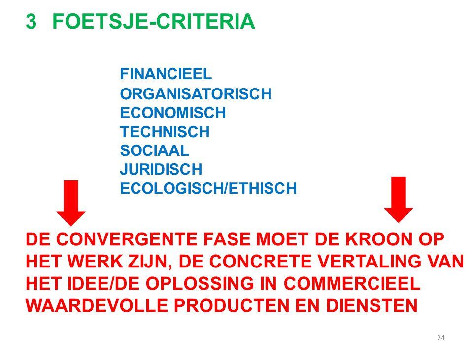 24 3FOETSJE-CRITERIA FINANCIEEL ORGANISATORISCH ECONOMISCH TECHNISCH SOCIAAL JURIDISCH ECOLOGISCH/ETHISCH DE CONVERGENTE FASE MOET DE KROON OP HET WER