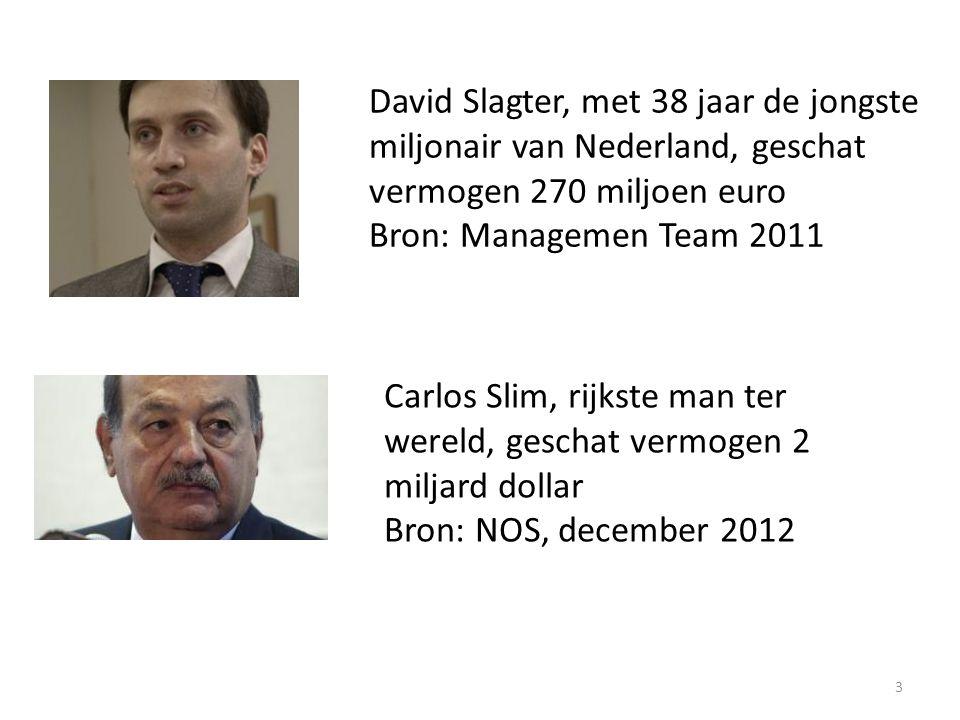 3 David Slagter, met 38 jaar de jongste miljonair van Nederland, geschat vermogen 270 miljoen euro Bron: Managemen Team 2011 Carlos Slim, rijkste man